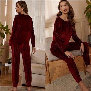 NWT Red velour top & pants pajama set